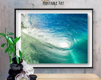 Ocean Printable Art | Wall Art Ocean Waves | Wave Art Decor | Ocean Coastal Art | Ocean Blue Wall Art | Ocean Art Poster | Ocean Waves Art