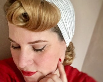 """Vintage style turban - The """"Hedy"""" -  *Limited Edition* 1940s style pinstripe turbans, glamorous pin up style - WHITE & BLACK PINSTRIPES"""