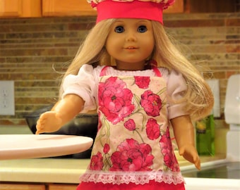 Apron and Chef Hat set for 18 inch or American Girl doll