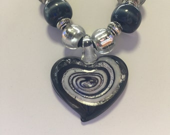 Black Lampwork Murano Glass Swirl Heart Pendant Necklace
