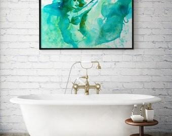 """""""Mermaid"""" watercolor poster"""
