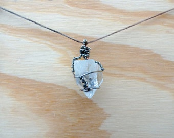 Real Raw Cut Clear/White Apophyllite Crystal Pendant Necklace