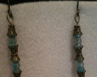 0151-Antique Brass with Czech Glass Bead earrings