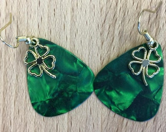 Shamrock Guitar Pick Earrings