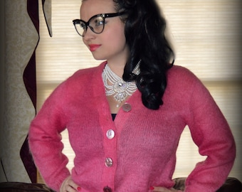 Vintage Delicious Pink Button Up Sweater Cardigan / Mohair & Wool / Warm  Up Preppy Hot Pink Mohair Sweater Medium Large 8 10 12