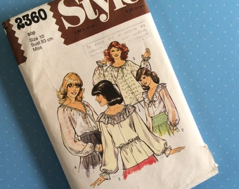 Vintage Sewing Pattern - Style 2360 - Retro 1970's Dressmaking Pattern - Blouse Sewing Pattern - Size 10 Bust 83cm Sewing