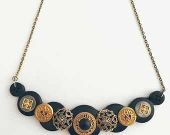 Recycled Button Vintage Style Black White Gold Bronze Necklace