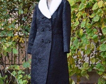 SCHIAPARELLI 1960 Black Damask Coat with White Mink Collar