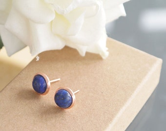 Lapis Lazuli Earrings | Rose Gold | Silver Studs | Blue Stone