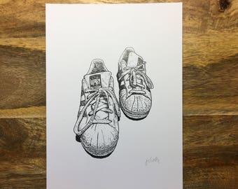 Print of Original Illustration of Adidas Superstar Trainers