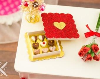Valentine's Day Box of Heart Shaped Chocolates - 1:12 Dollhouse Miniature