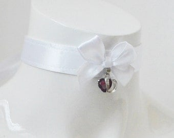 Kitten play day collar - Silky white - ddlg princess adult lolita costume - white satin petplay pet play choker