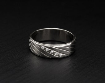 Men silver wedding band, Sterling silver band, 6mm wedding band, Unique design ring, Unusual ring, Gift for men, Unique wedding band