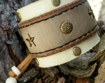White and Grey Tribal Leather Cuff