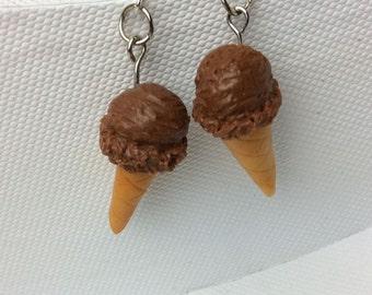Chocolate ice cream cone dangle earrings