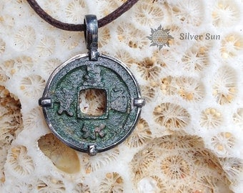 Ancient Chinese Coin Age About 1000 Years Pendant Diameter 25 mm Frame is Sterling Silver Necklace Brownt Cotton Cord Jewelry  Handmade