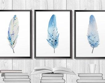 Feather print. Feathers watercolor. Set of three prints. Printable Wall Art. Bohemian print. Watercolor set. Nautical Art. Blue Art