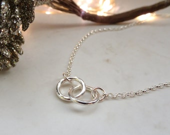 Silver Linked Ring Necklace - Silver Ring Necklace - Two Linked Ring Necklace - Silver Chain Necklace