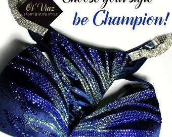 Dark Blue Velvet Competition Bikini with Crystals/Competition Suit/Posing Suit/Rhinestone Fitness