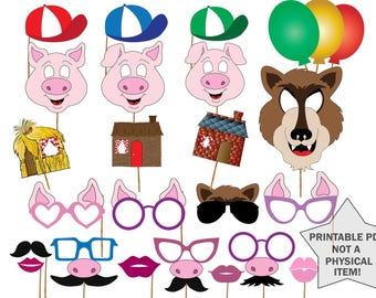 "Fairy tale photo booth props: ""KIDS PARTY PROPS"" Three little pigs Printable birthday props Birthday photo booth Three pigs and wolf party"