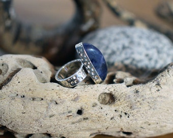 Deep blue ring, chunky statement ring, sodalite ring, blue stone ring, UK size P 1/2 ring, US size 8 ring, No 17 size ring