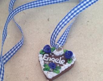 """Necklace """"Engele"""" blue Gingerbread Heart Oktoberfest small"""