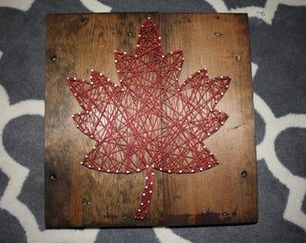Auburn Red Leaf, String Art
