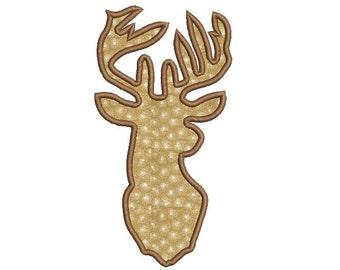 Deer head applique design - Deer embroidery pattern - Reindeer embroidery - Machine applique design - INSTANT DOWNLOAD - 4x4 5x7 6x10 size