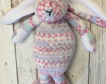 Hand knitted ce tested large multi coloured rabbit.