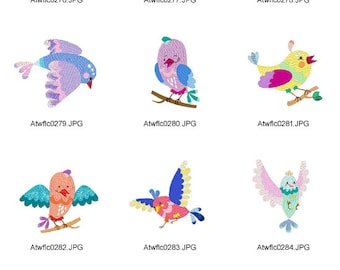 Exotic-Birds ( 10 Machine Embroidery Designs from ATW )
