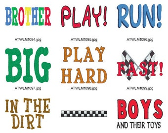 Big-Boy-titles. ( 13 Machine Embroidery Designs from ATW )