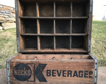 Kecks Beverages Wooden Soda Crate With Dividers