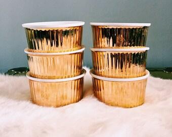 Set of Six Vintage Royal Worcester Gold Lustre Porcelain Ramekins