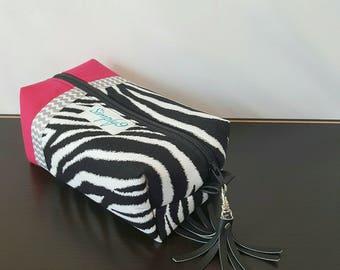 Zebra Makeup Bag - Pink Makeup Bag - Make up Bag - Cosmetic Bag - Makeup Organizer - Makeup Storage - Makeup Case - Toiletry Bag - Gift