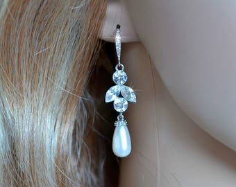 Handmade Crystal Rhinestone & CZ Teardrop Pearl Dangle Earrings, Bridal, Wedding (Pearl-787)