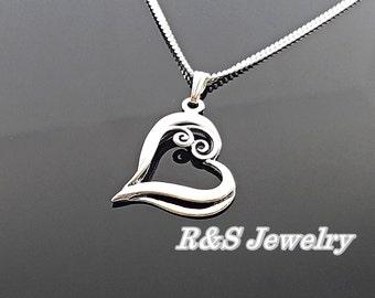 Heart necklace, sterling silver open heart necklace, love necklace, 925 Sterling silver heart necklace, heart pendent,