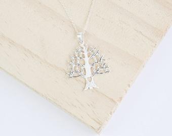 Fionn Brushed Silver Tree Pendant, Oak Tree Pendant, Oak Necklace, Tree Necklace, Sterling Silver, Family Tree with Heart, Matt Silver Oak