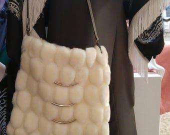 White faux fur crossbody bag