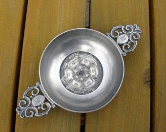 German Pewter Porringer / Double Handled Pewter Porringer / Bowl / Dish / Cup / Tudor Rose / Flower / Marked / Collectible / Vintage / 60,s