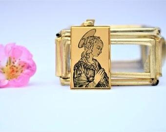 Vintage Italian Holy Mary Locket 18k Gold Saint Pendant Renaissance Holy Mary Pendant Square Religious Pendant 1940s Italian Jewelry