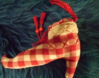 Vintage fairy shoe in tissu to hang on wall/ 90s/ Swiss Hand made