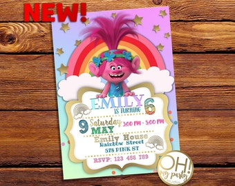 Trolls Invitation, trolls Birthday invitation, trolls invitation party, trolls birthday, trolls party, trolls invite, trolls digital, trolls
