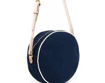 Leather round bag / Navy Crossbody bag  / Womens everyday bag / Cross body bag / Circle bag / Round zipper bag / Minimalist bag / Canvas bag