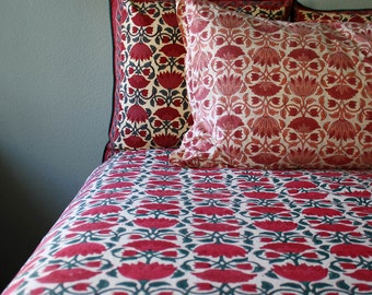 Bohemian Indian Lotus Duvet wood-block printed in deep color