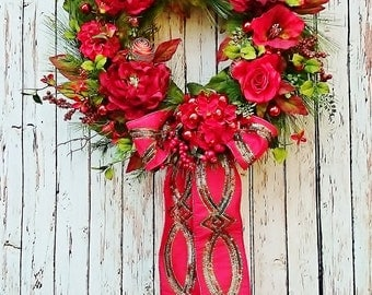 Luxury Velvet Christmas Holiday Door Wreath by Sweet Lily's Garden, Christmas Holiday Front Door Wreath, Holiday Fireplace Wreath,      W243