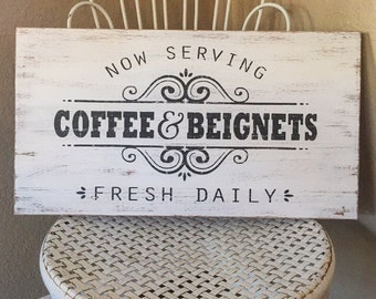 Coffee Sign, Coffee Bar Sign, Coffee Shop Sign, Kitchen Sign, Rustic Distressed Sign, Fixer Upper Decor, Wall Hanging