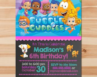 Bubble Guppies Birthday Invite - Pink Chalkboard - Girl Bubble Guppies Invitation - Bubble Guppies Party - Bubble Guppies Printables