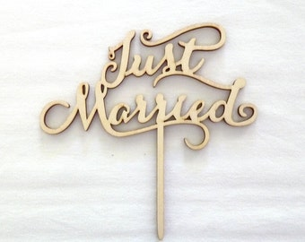 Wedding Cake Topper - Just Married Cake Sign - Rustic Cake Toppers - Wedding Cake Decorations