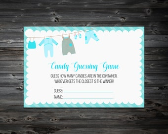 Candy Guessing Game Printable,Guess How Many Candies,Baby Shower Games, Printable Baby Shower Games,Candy Guessing game.