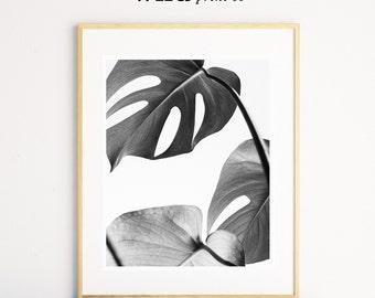 Monstera Leaf, Plant Print, Monstera Leaf, Black and White Prints, Monstera Print, Leaf Wall Art